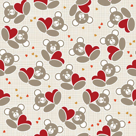 white beige yellow orange red animal childish seamless pattern with little teddy bears holding hearts scrapbook background Vector