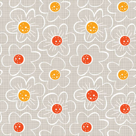beige white yellow orange red botanical seamless pattern with blooming meadow flowers on light background Vector