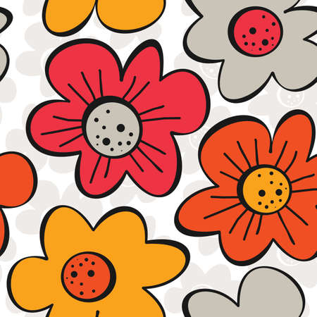 spring summer blooming meadow yellow orange red gray flowers on white patterned background seamless pattern  Vector