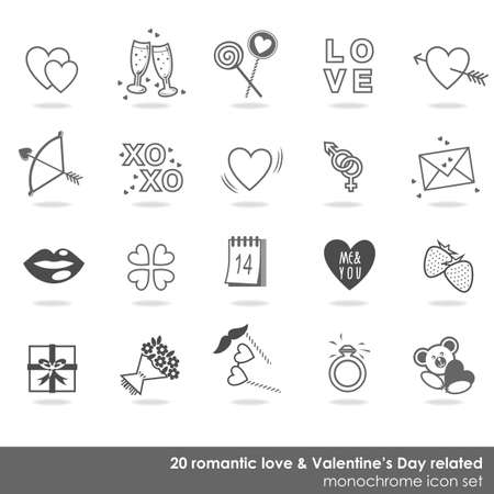 valentine s day teddy bear: 20 romantic love Valentine s Day related monochrome icon set isolated on white background Illustration
