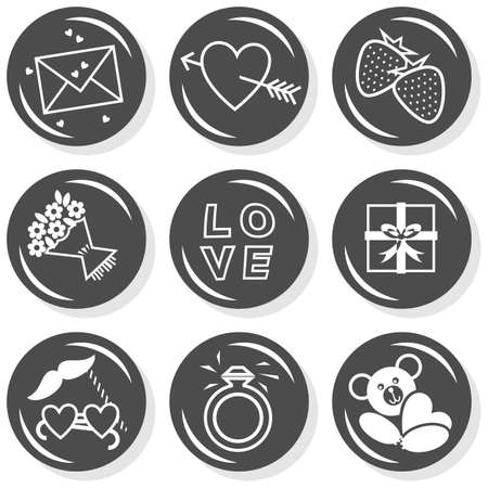 romantic love Valentine s Day related monochrome flat button icon set isolated on white background with love letter pierced heart strawberries gift flowers ring and teddy bear Stock Vector - 17899117