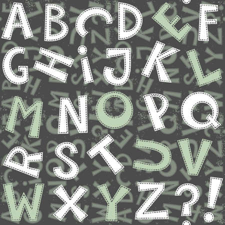 latin letter set in blue gray and white with sew border on dark background grunge seamless pattern Stock Vector - 18007627