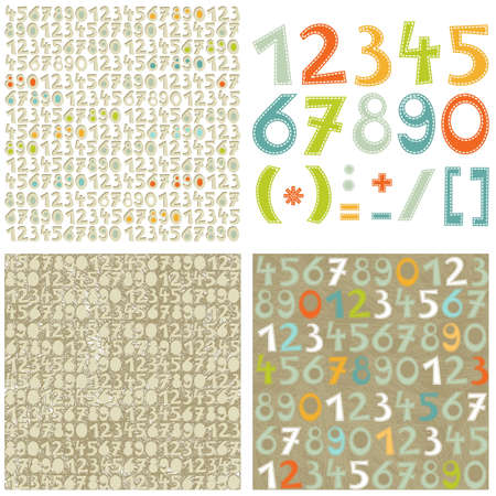 colorful numbers education set and number seamless pattern on light and dark scrapbook background set Vector