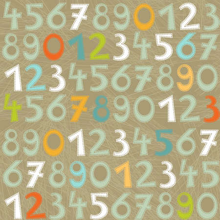 colorful numbers on dark background education seamless pattern Stock Vector - 18007629