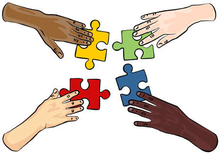caucasian african asian indian american human hands holding pieces of puzzle on white background colorful illustration