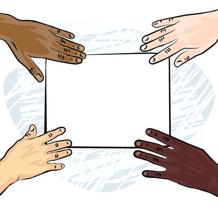 african american caucasian indian human hands holding white blank piece of paper colorful illustration