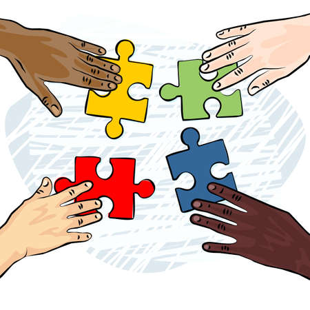 caucasian african asian indian american human hands holding pieces of puzzle colorful illustration