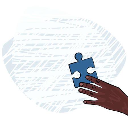 dark skin: african human hand dark skin with blue puzzle element colorful illustration  Illustration