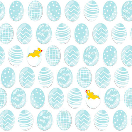 Blue patterned Easter eggs in rows with little chickens on white background holiday seamless pattern Vector