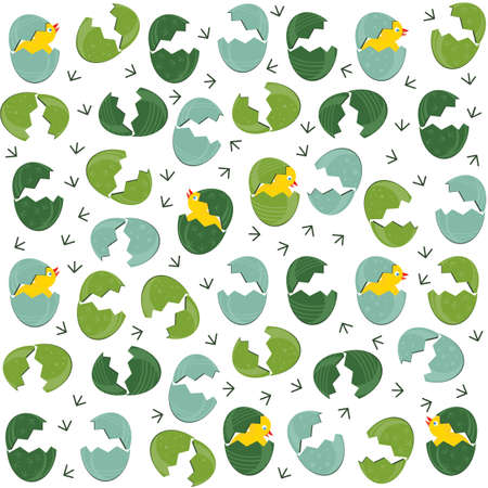 Messy broken green turquoise patterned Easter eggs with little chickens on white background holiday seamless pattern  Vector