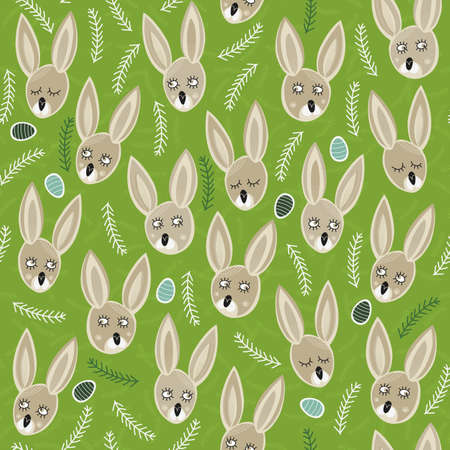 little bunnies on green meadow with green and turquoise easter eggs spring easter colorful seamless pattern  Vector