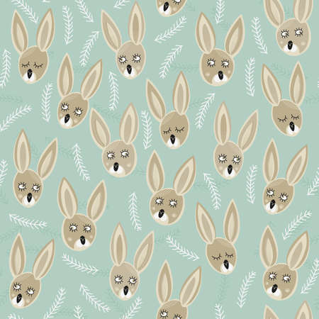 little bunnies on turquoise meadow spring easter colorful seamless pattern  Vector