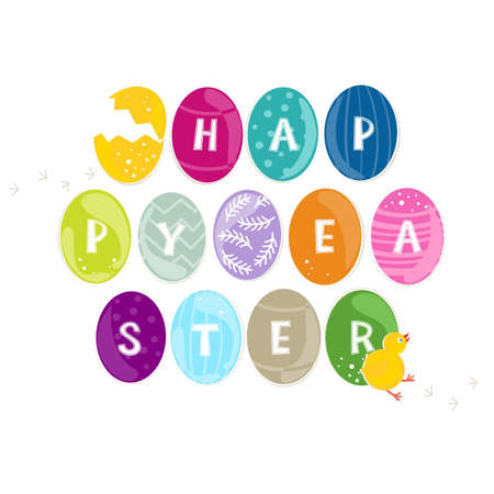 happy easter wishes on green turquoise pink purple yellow orange blue eggs in rows with little chicken and chickens trace on white background holiday illustration  Vector