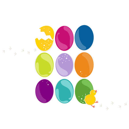 eastern europe: green turquoise pink purple yellow orange blue Easter eggs in rows with little chicken and chickens trace on white background holiday illustration Illustration