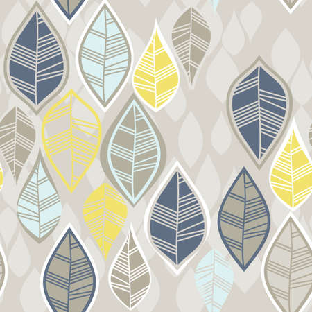 retro beige blue navy yellow white leaves in rows on white background seasonal seamless pattern Vector