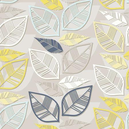 messy retro beige blue navy yellow white leaves on light background seasonal seamless pattern