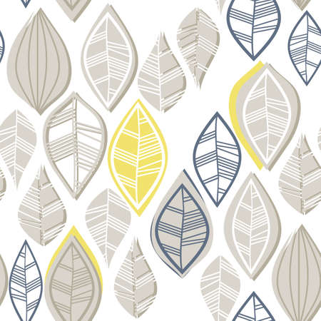 retro beige blue navy yellow white leaves in rows on white background seasonal seamless pattern Stock Vector - 18382580