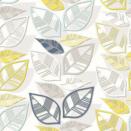 messy retro beige blue navy yellow white leaves on white background seasonal seamless pattern
