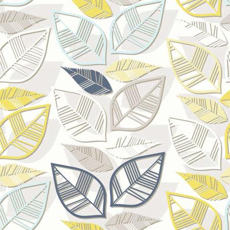 messy: messy retro beige blue navy yellow white leaves on white background seasonal seamless pattern