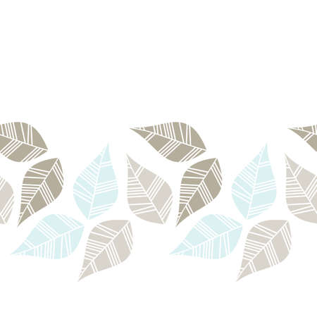 light brown beige blue gray leaves on white background seasonal seamless horizontal border Stock Vector - 18491330