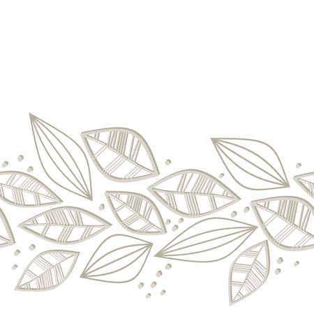 retro monochrome beige brown leaves and dots on white background seasonal seamless horizontal border Stock Vector - 18491334