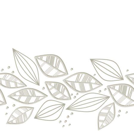 retro monochrome beige brown leaves and dots on white background seasonal seamless horizontal border Stock Vector - 18491334