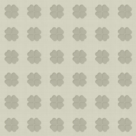 monochrome clover leaves in regular rows on light background seasonal seamless pattern Vector