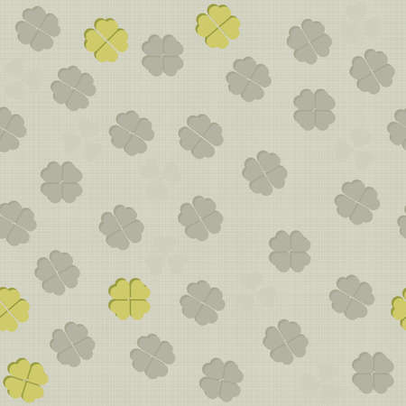 gray and green clover leaves messy meadow on light background seasonal seamless pattern Vector