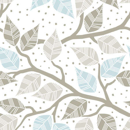 beige gray blue leaves on branches on dotted white background seasonal seamless pattern