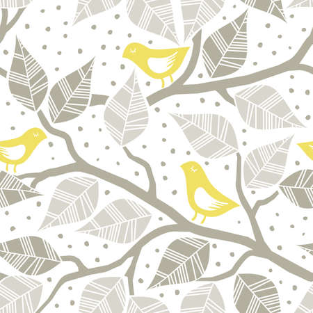 seamless pattern: beige gray leaves and yellow birds on branches on dotted white background seasonal seamless pattern Illustration