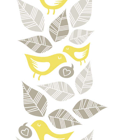 beige gray leaves and yellow birds singing of love on white background seasonal seamless vertical border Vector