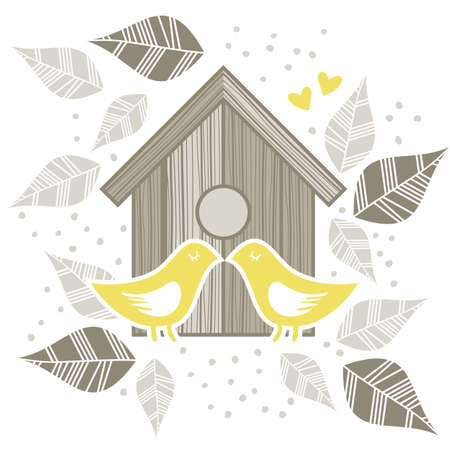 yellow birds kissing  in front of wooden bird box on white background with  beige gray leaves and dots romantic love marriage save the date wedding illustration Vector