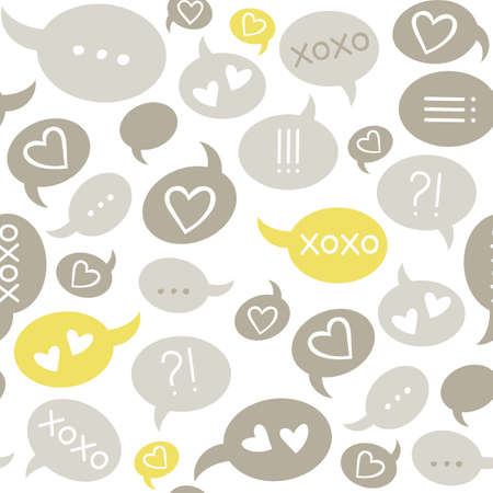 love message speech bubbles gray beige brown yellow on white background seamless pattern Vector