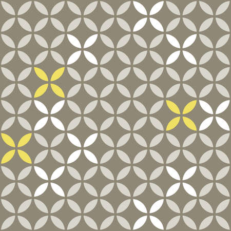 retro white beige yellow leaves shaped elements in rows on gray brown background abstract geometric seamless pattern