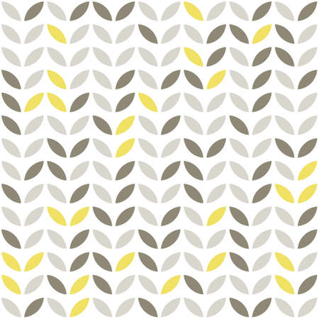 circle shape: retro beige yellow brown leaves shaped elements in rows on white background abstract geometric seamless pattern