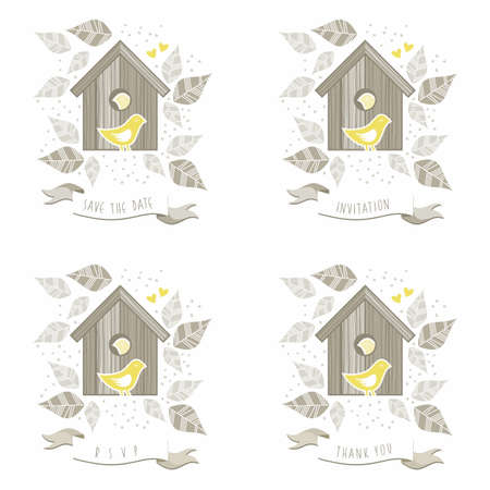 yellow birds in wooden bird box on white background with  beige gray leaves and dots romantic save the date invitation rsvp thank you love marriage wedding illustration Vector