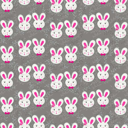 little gray pink rabbit couple in regular rows with gray delicate branches on dark background Easter spring holiday seamless pattern Vector