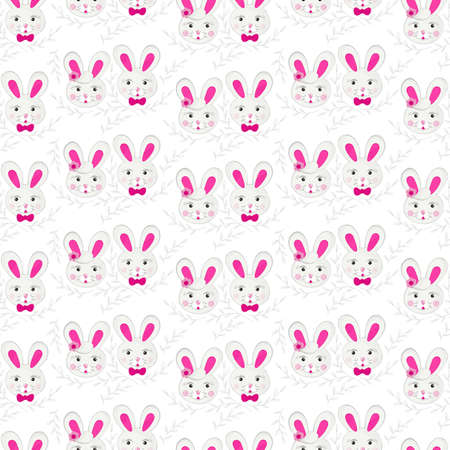 little gray pink rabbit couple in regular rows with gray delicate branches on white background Easter spring holiday seamless pattern Vector