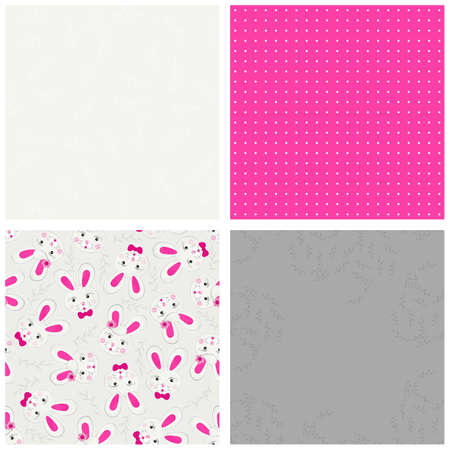 Gray White Pink Spring Holidays Scrapbook Paper Set With Little