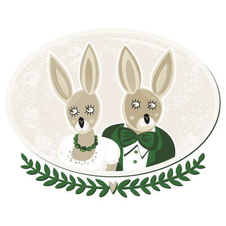 two rabbits portrait of bride and groom on delicate grunge oval background isolated on white  Stock Vector - 18847955