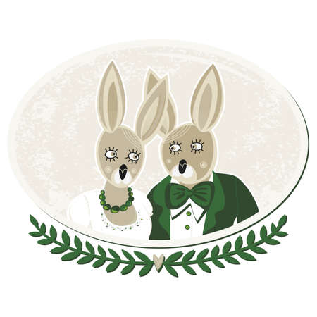 rabbits in love portrait of bride and groom on delicate grunge oval background isolated on white Stock Vector - 18847956