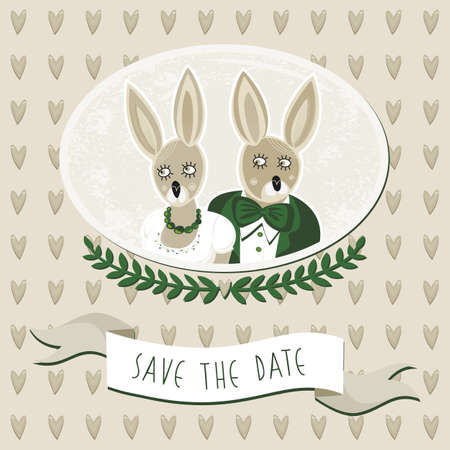 save the date card with delicate grunge oval portrait of rabbit bride and groom on light beige background with brown hearts Stock Vector - 18847960