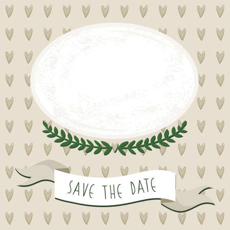 wedding save the date card with delicate grunge oval blank portrait place on brown heart patterned background  Illustration