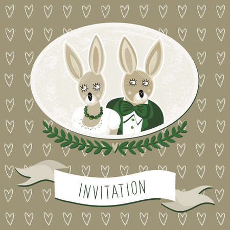 wedding invitation with delicate grunge oval portrait of rabbit bride and groom on dark brown background with border hearts  Vector