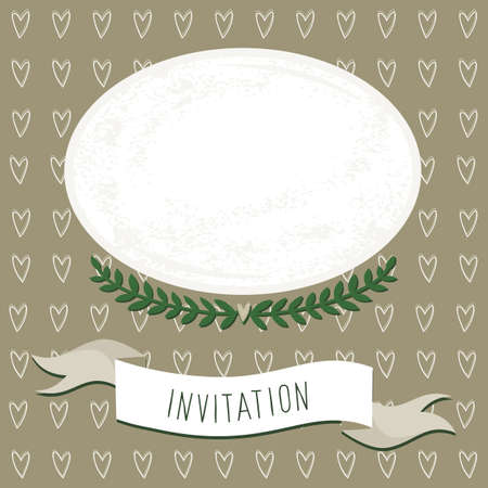 wedding invitation blank card with delicate grunge oval blank portrait place on brown heart patterned background Stock Vector - 18847954