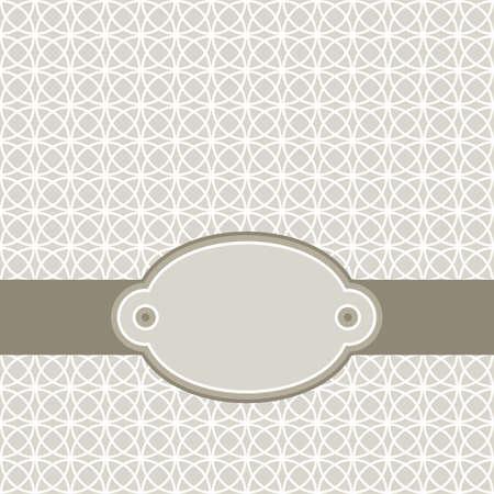 minimalista: retro fehér kör mix sorban a szürke, barna, háttér elvont geometriai háttér ovális üres címkével sötét szalag ünneplés kártya Illusztráció