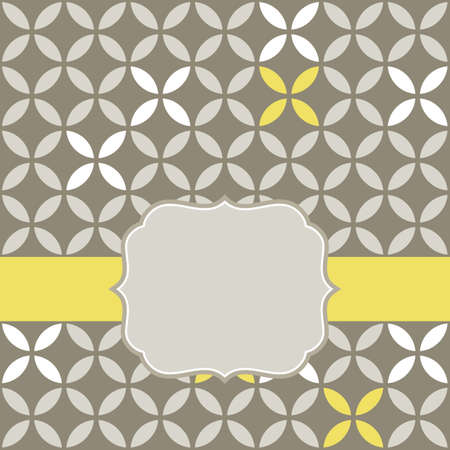retro white beige yellow leaves shaped elements in rows on gray brown background abstract geometric background with rounded vintage blank label on yellow ribbon celebration card Stock Vector - 18953273