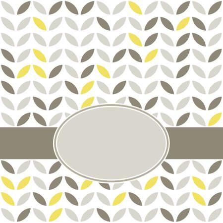 minimalista: retro bézs sárga barna levelek alakú elemek sorban fehér háttér geometriai háttér ovális üres címke sötét szalag ünneplés kártya Illusztráció