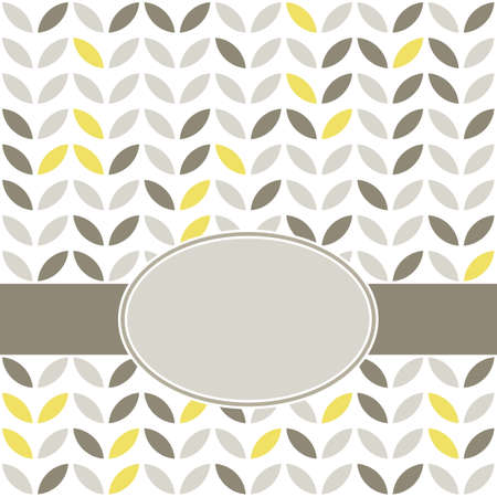 retro pattern: retro beige yellow brown leaves shaped elements in rows on white background abstract geometric background with oval blank label on dark ribbon celebration card