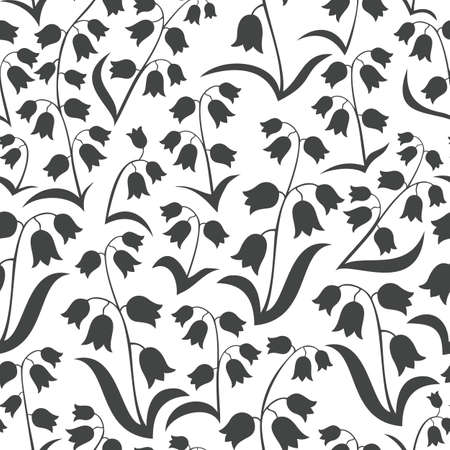 monochrome delicate silhouette flowers with leaves lilies of the valley type on white background floral seamless pattern Vector